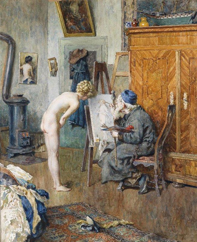 Heinrich Rettig Das Aktmodell im Atelier des Malers