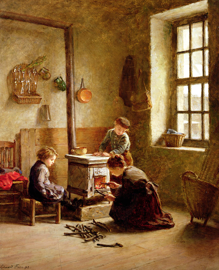 Lighting The Stove Painting by Pierre Edouard Frere
