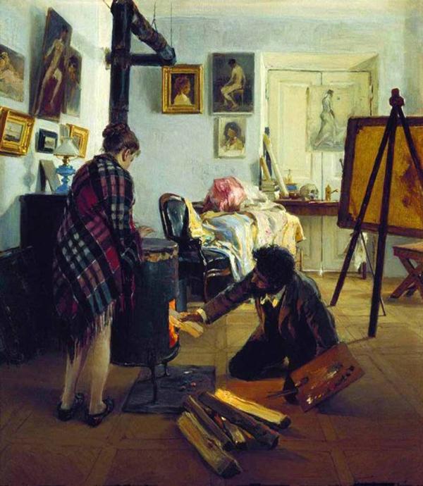 Прянишникова «В мастерской художника» (1890)