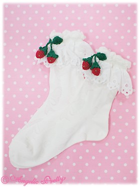 RibbonPrintStrawberryCrewLengthSocks-whitexred_0