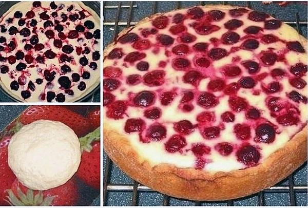 Пирог - сметанник с ягодами