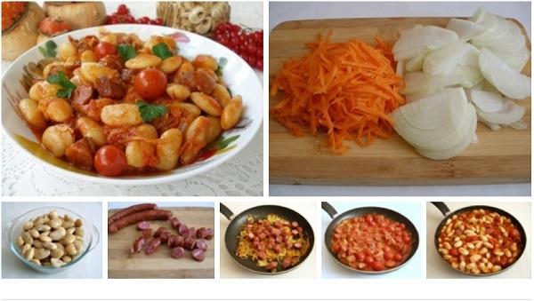 Белая фасоль в томатном соусе с Охотничьими колбасками