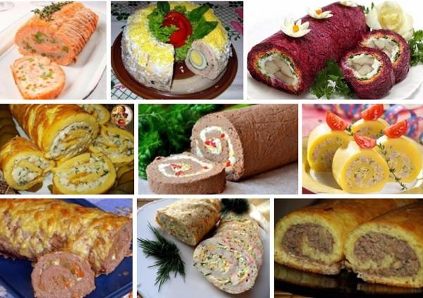 ТОП - 9 рецептов закусочных рулетов к праздничному столу и на каждый день