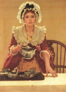 девушка с чайником