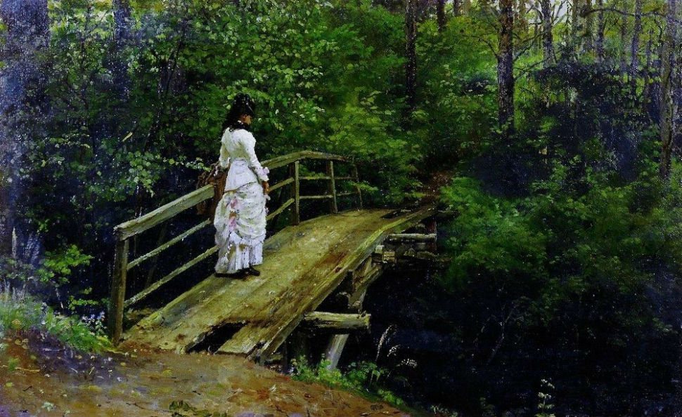 6-Илья Ефимович Репин - Летний пейзаж (В А Репина на мостике в Абрамцеве) - 1879.jpg