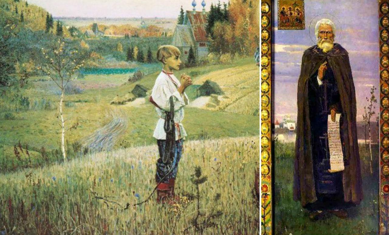 Слева - Нестеров - Видение отрока Варфоломея (фрагмент) Справа - Виктор Васнецов - Сергий Радонежский.jpg