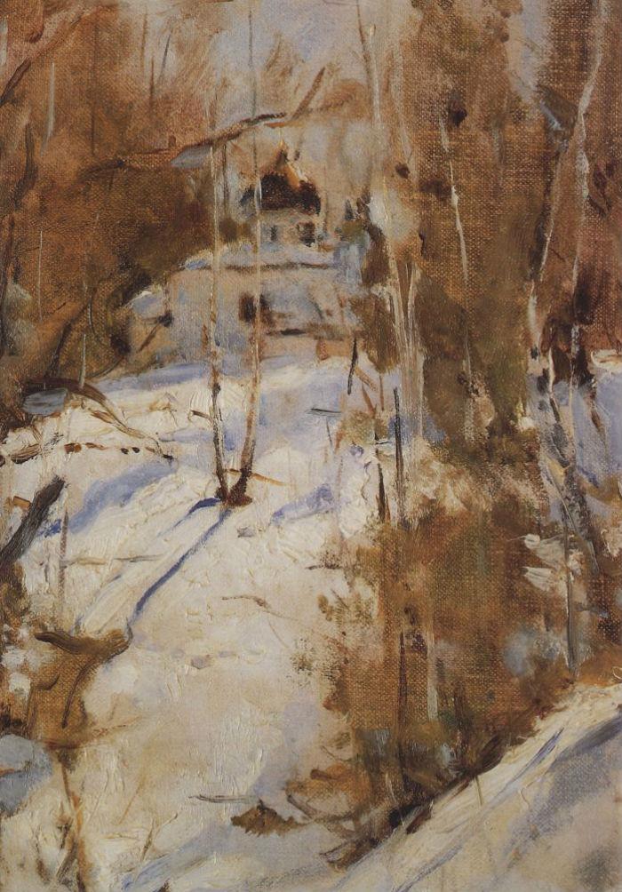 2-Валентин Александрович Серов - Зима в Абрамцеве Церковь - 1886.jpg