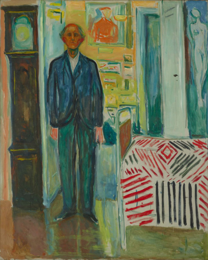 8-Эдвард Мунк - Автопортрет между часами и кроватью - 1943.jpg