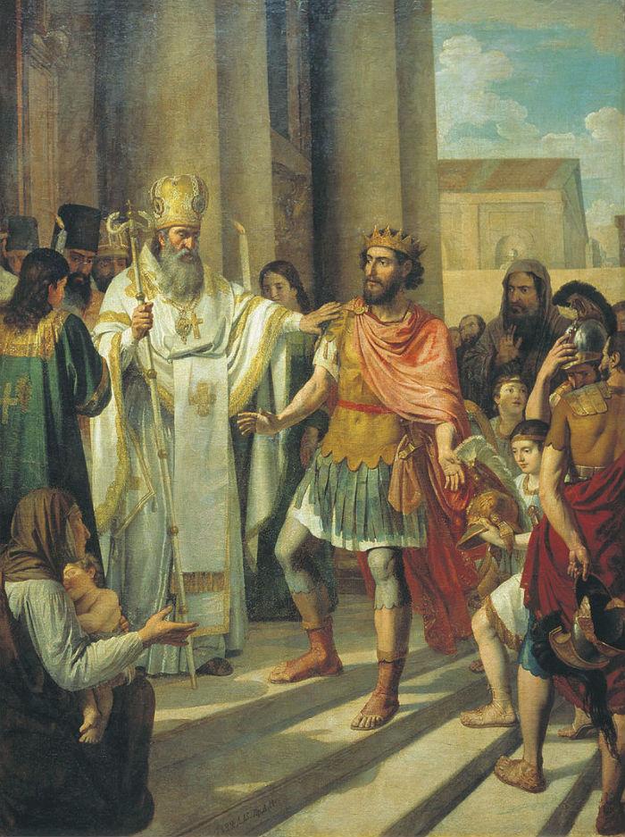 Андрей Иванович Иванов - Амвросий Медиоланский воспрещает императору Феодосию вход в храм - 1829.jpg