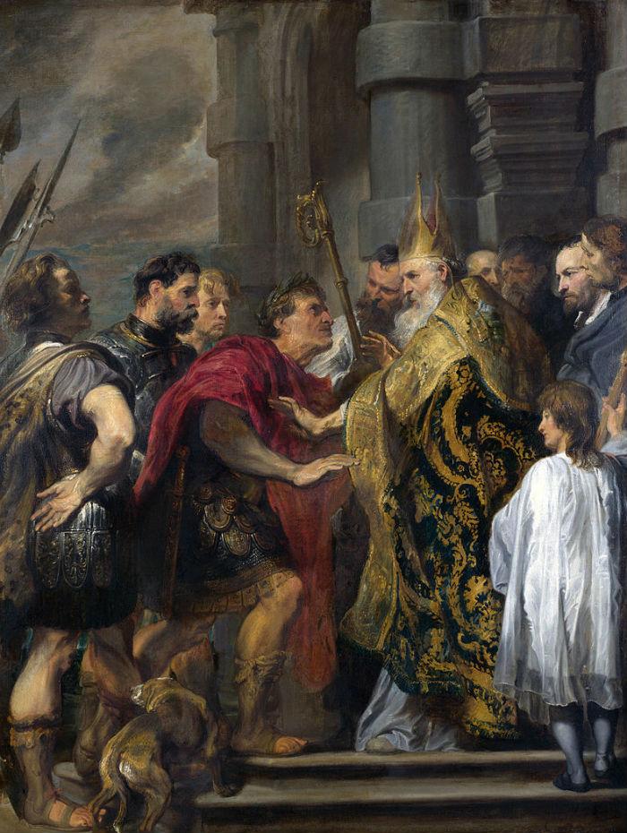 Ван Дейк - Святитель Амвросий Медиоланский и император Феодосий.jpg