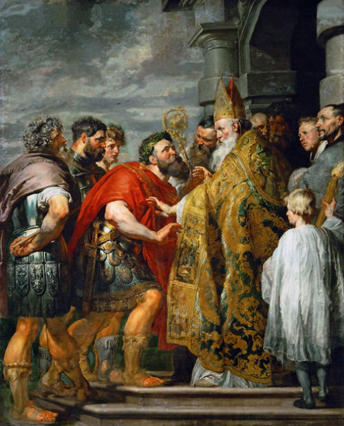 Питер Пауль Рубенс - Св. Амвросий Медиоланский и император Феодосий - 1615-1616.jpg