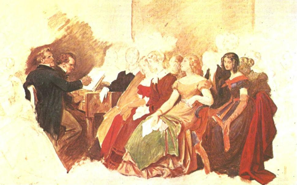 Мориц фон Швиндт (друг Шуберта) - Шуберт на фортепиано акомпанирует певцу Фоглю вечером в доме друзей (незавершенное.jpg