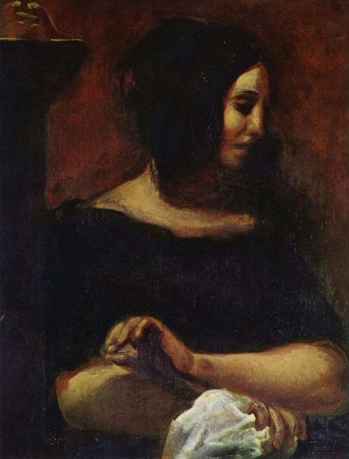 26-Эжен Делакруа - Портрет Жорж Санд - 1838.jpg