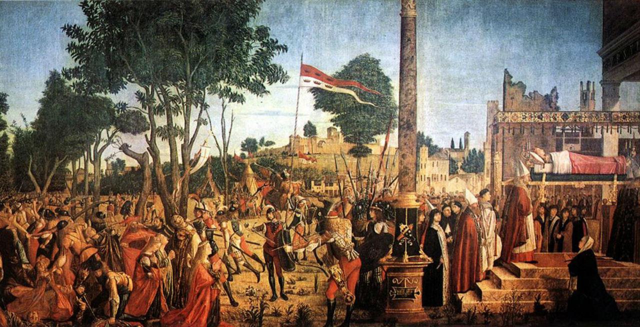 Витторе Карпаччо  - Мученичество паломников и похороны Святой Урсулы.jpg