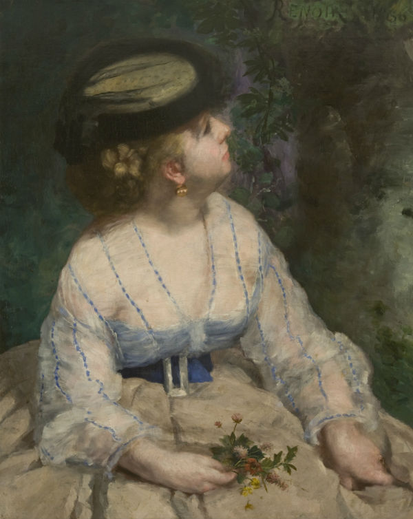 42-Пьер Огюст Ренуар - Женщина смотрящая на птичку - 1866.jpg