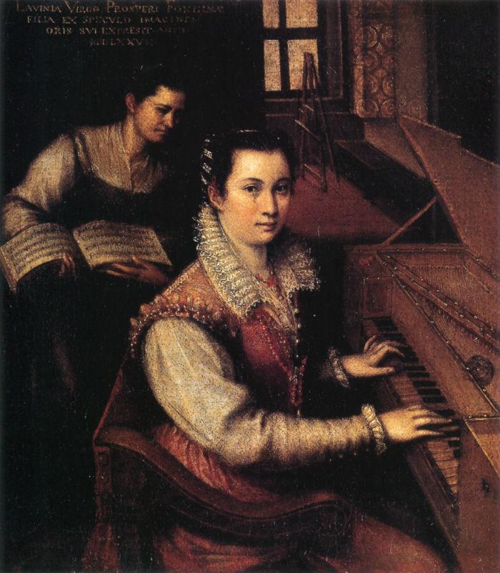 2-Лавиния Фонтана - Автопортрет с клавикордом и служанкой - 1577.jpg