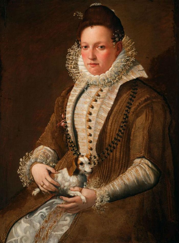 7-Лавиния Фонтана - Портрет дамы с комнатной собачкой - 1590-е.jpg