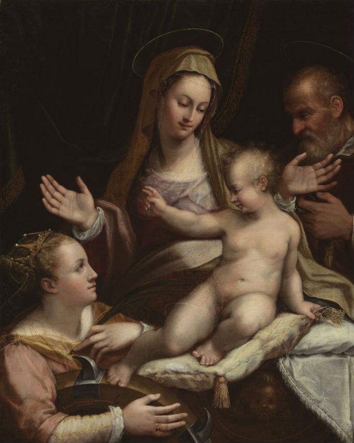 10-Лавиния Фонтана - Святое семейство со святой Екатериной Александрийской - 1581.jpg