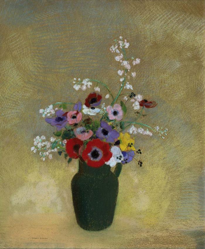 4-Одилон Редон - Большая зеленая ваза с смешанными цветами - 1910-е.jpg