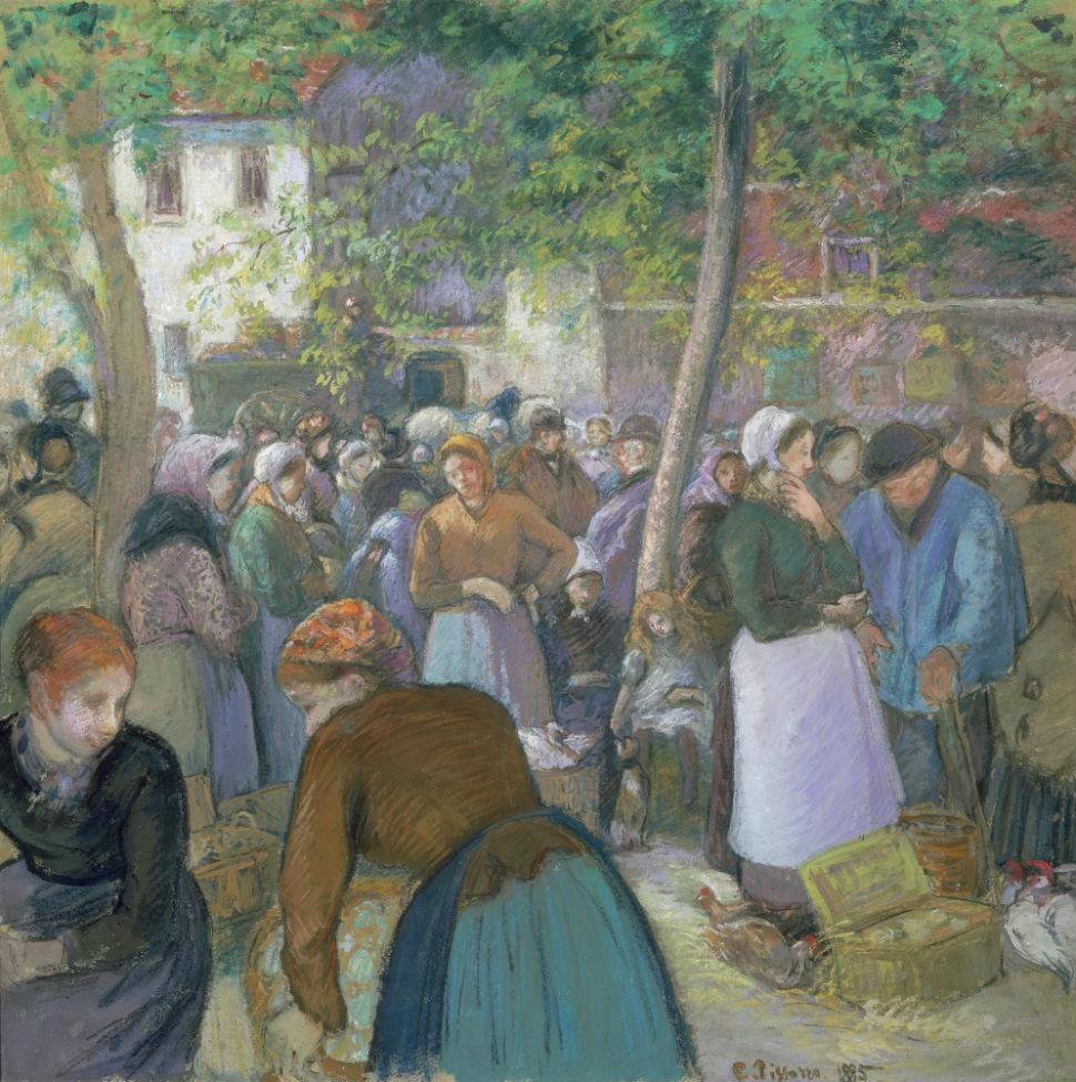 5-Камиль - Писсарро - Птичий рынок в Гисоре - 1885.jpg
