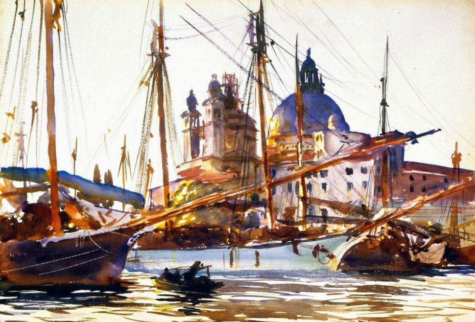 1-Джон Сингер Сарджент - Лодки у церкви Санта-Мария-делла-Салюте - Венеция - 1909.jpg