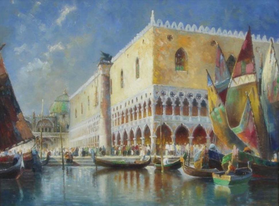 7-Эйнар Вегенер (Лили Эйбе) - Изображение гондол и парусных лодок на канале перед Дворцом Дожей.jpg