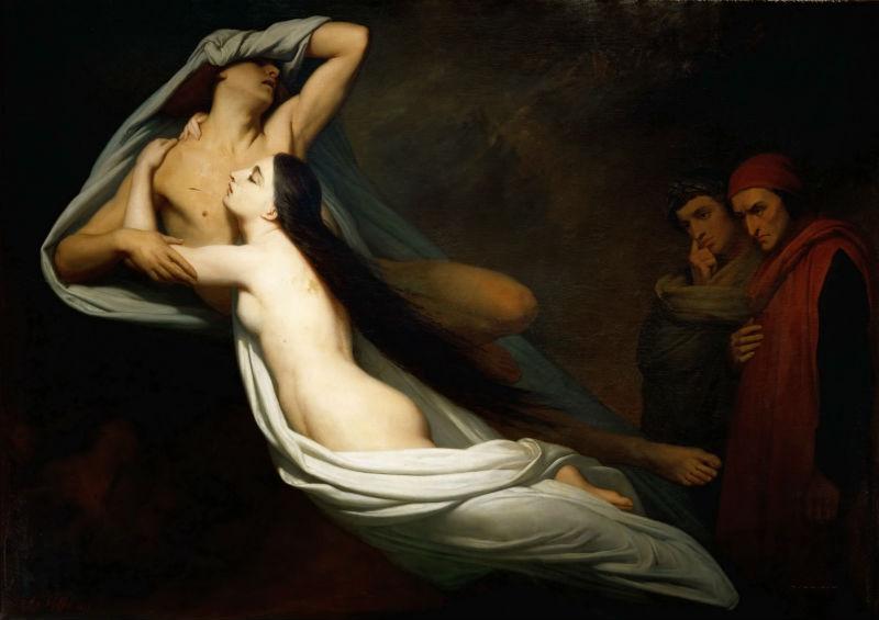 12-Ари Шеффер - Данте и Виргилий встречают призраков Франчески да Римини и Паоло в подземном мире - 1851.jpg