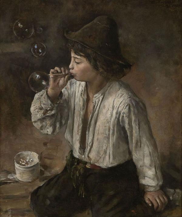 4-Ханс Хейердал - Мальчик надувает мыльные пузыри - 1882.jpg