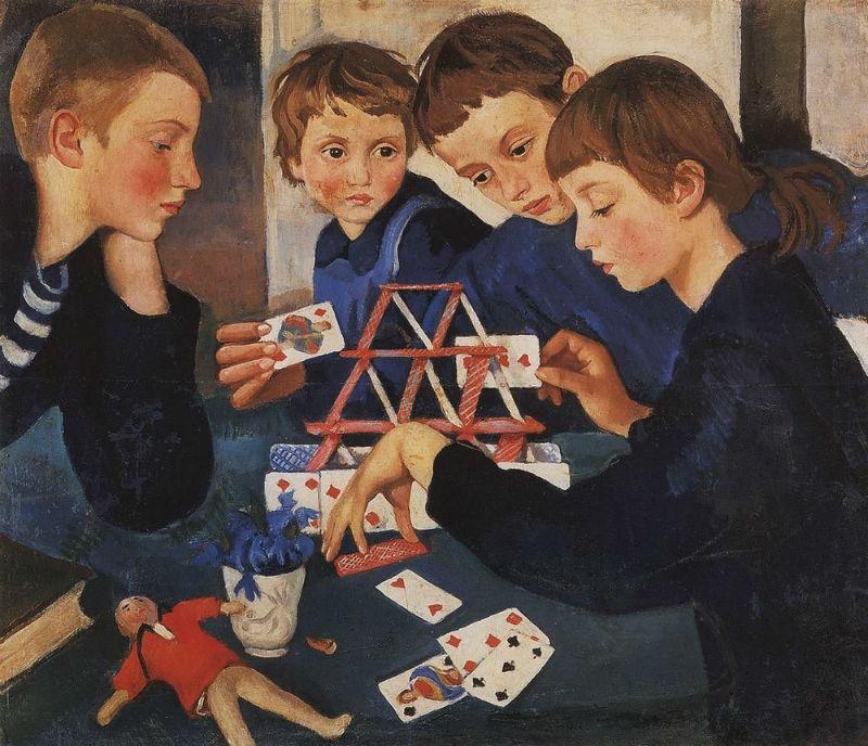19-Зинаида Евгеньевна Серебрякова - Карточный домик - 1919.jpg