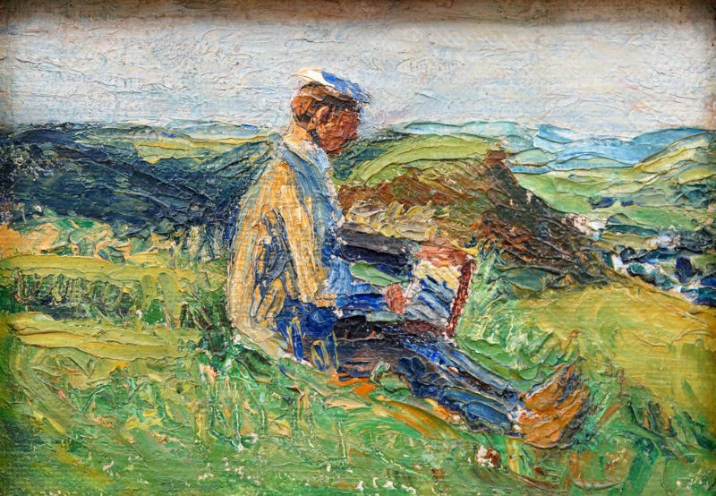 10-Габриэль Мюнтер - Кандинский пишущий пейзаж - 1903.jpg