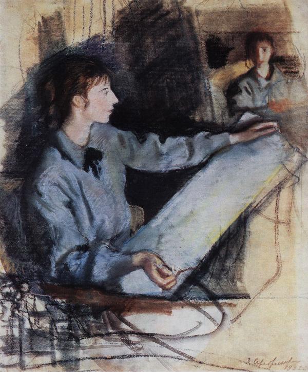 5-Автопортрет в синем перед зеркалом - 1922.jpg