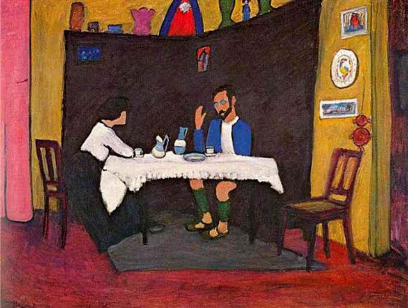 57-Габриэль Мюнтер - Кандинский и Эрма Босси за столом в Мурнау - 1912.jpg