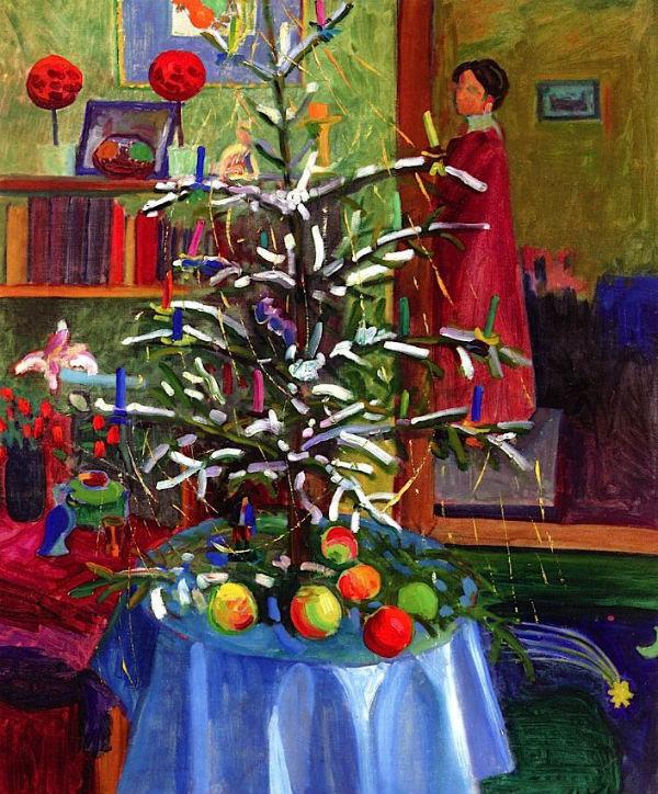 61-Габриэль Мюнтер - Интерьер с рождественской елкой - начало 20 века.jpg