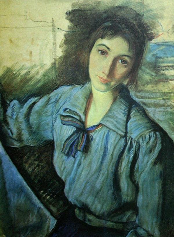 6-Автопортрет с синим бантом - 1922.jpg
