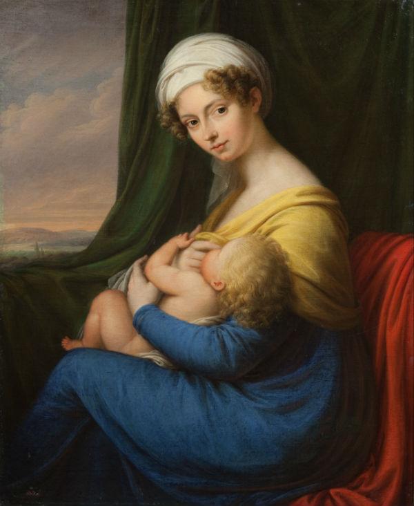 5-Неизвестный художник- Портрет княгини М Ф Барятинской с сыном - 1820-е.jpg