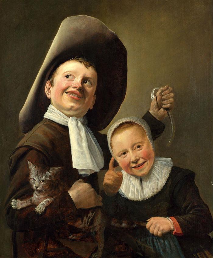 Мальчик и девочка с кошкой и угрём.jpg