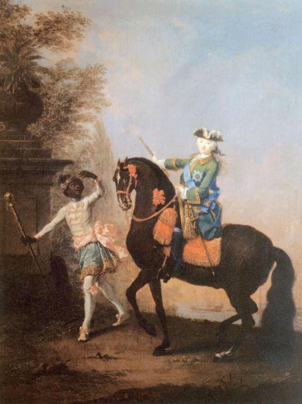 8-Георг Христофор Гроот  - Портрет  императрицы Елизаветы Петровны на коне с арапчонком.jpg