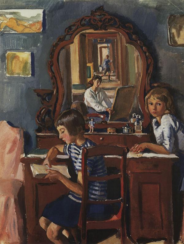 10-Тата и Катя у зеркала - 1917.jpg