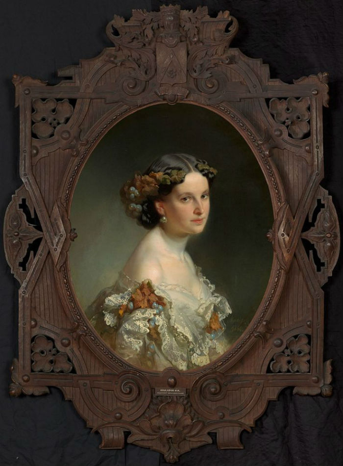 2-Портрет неизвестной (в авторской раме) - Иван Кузьмич Макаров - 1860.jpg