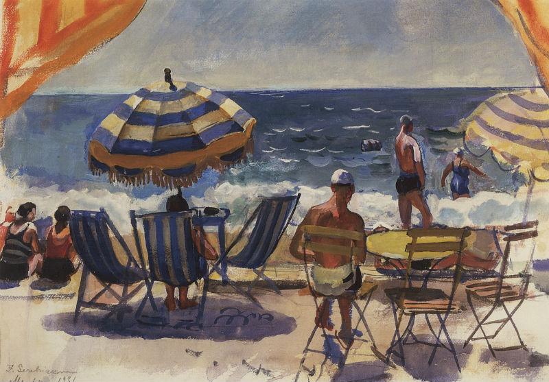 4-Ментона - Пляж с зонтиками - 1931.jpg