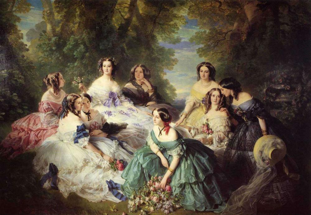 Франц Хавьер Винтерхальтер - Императрица Евгения в окружении фрейлин - 1855 - Компьеньский дворец.jpg