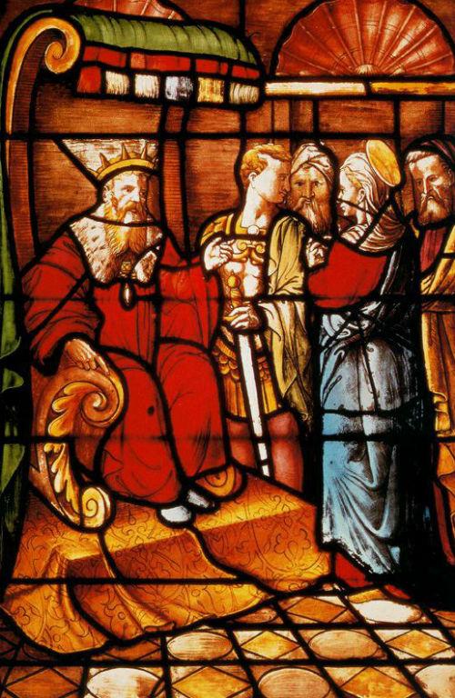 Витраж - Сцены из жития святой Екатерины - Милпнский собор.jpg