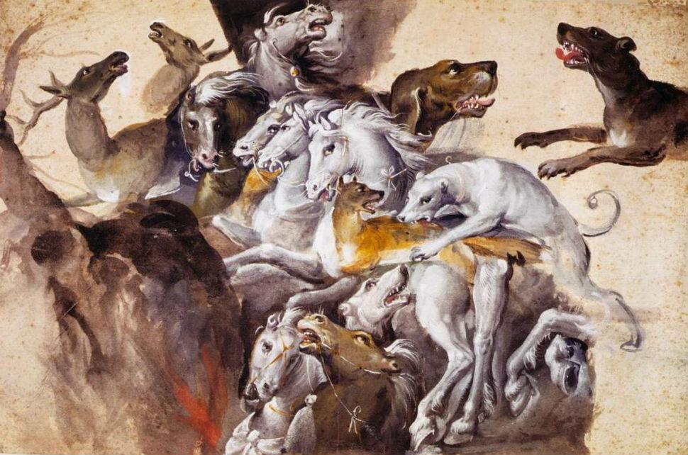 Композиция с животными - собаки, лошади и олень.jpg