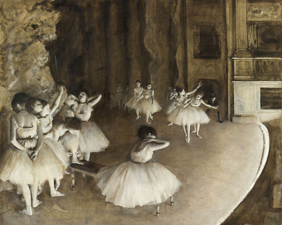 Эдгар Дега - Репетиция балета на сцене - 1874.jpg