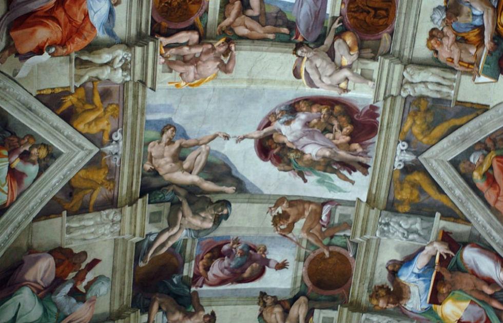 Микелпнджело Буанаротти - Сикстинская капелла - фрагмент росписи потолка.jpg