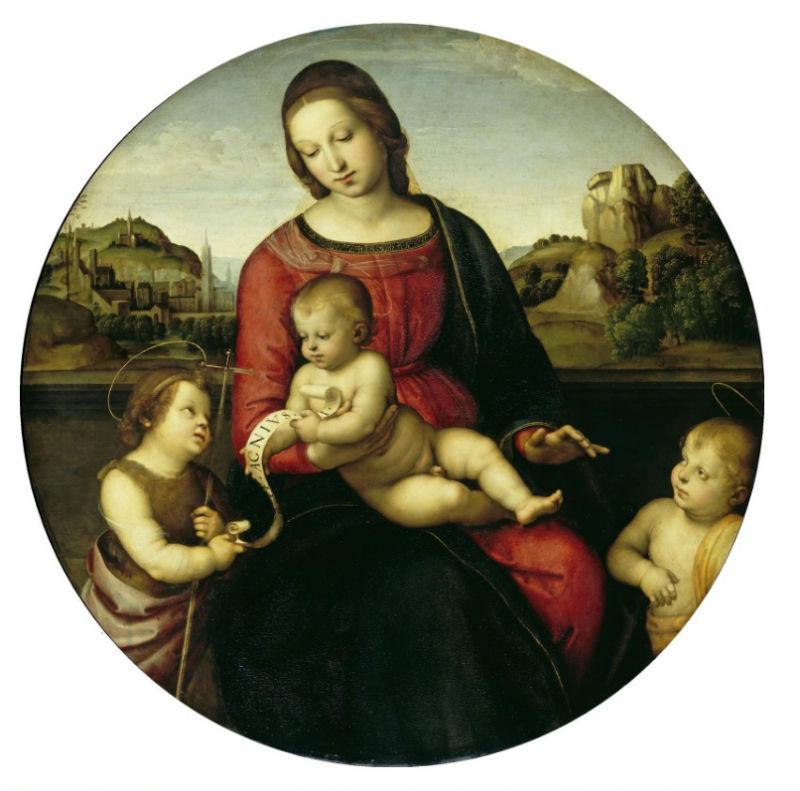 Рафаэль Санти - Мадонна Террануова (Мария с младенцем Христом, Иоанном Крестителем и святым ребенком) - 1505.jpg