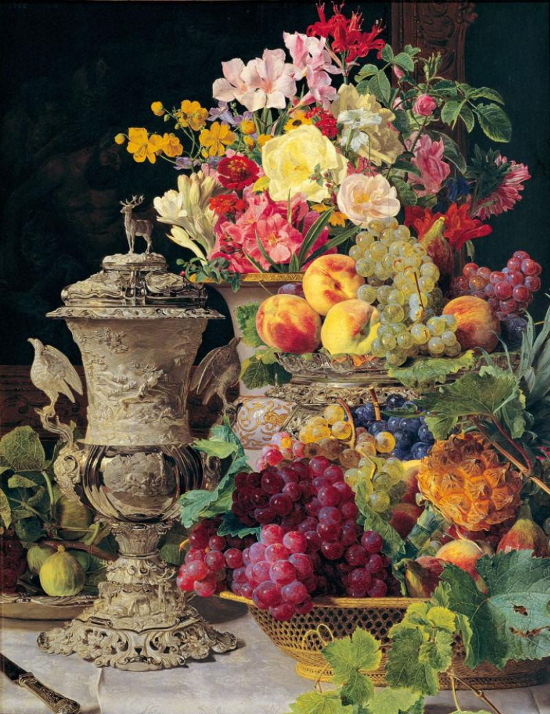 7-Фердинанд Георг Вальдмюллер - Натюрморт с фруктами цветами и серебряной чашей 1839.jpg