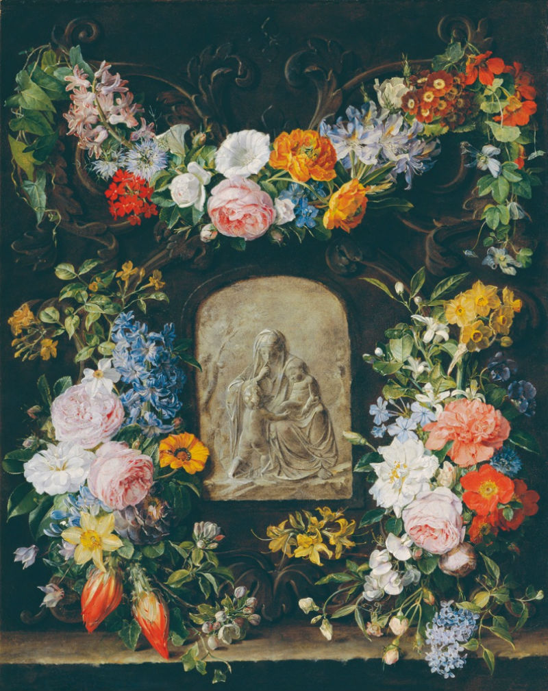 8-Паулина Куделька-Шмерлинг - Цветочная гирлянда с барельефом Мадонны 1834.jpg