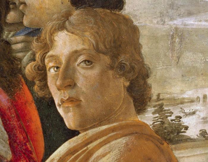 1-Сандро Ботичелли - Автопортрет - фрагмент алтарной композиции Поклонение волхвов - 1475.jpg