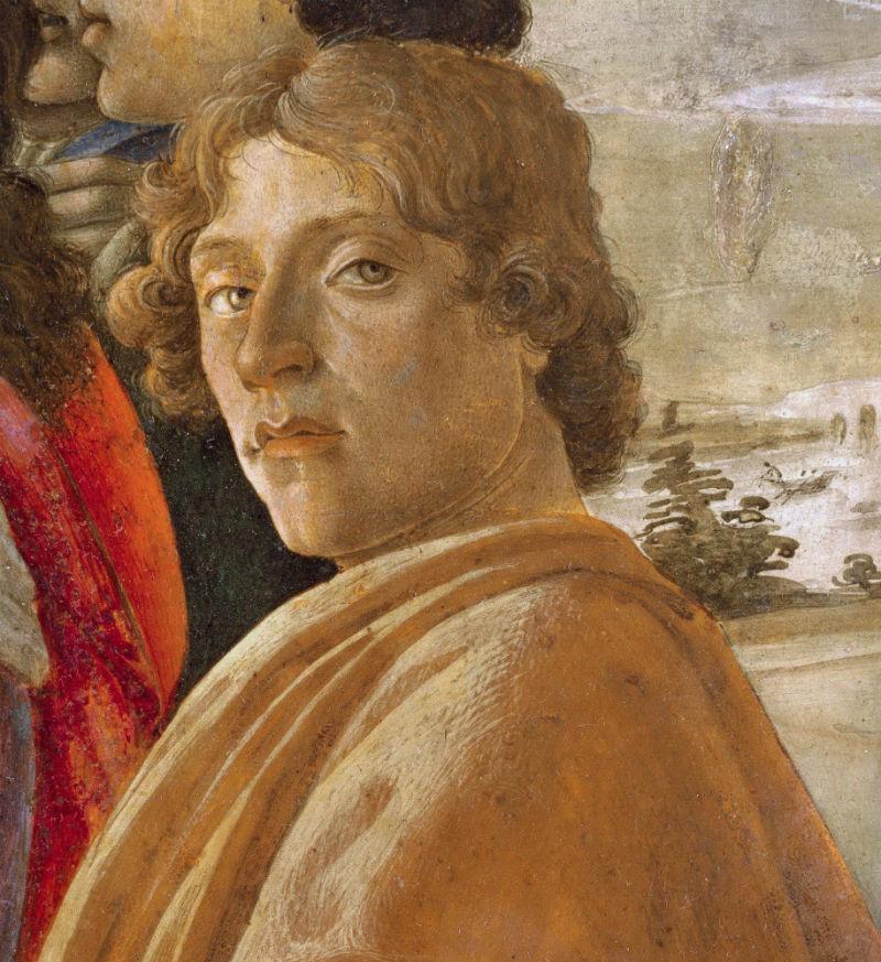 7-Сандро Ботичелли - Автопортрет - фрагмент алтарной композиции Поклонение волхвов - 1475.jpg